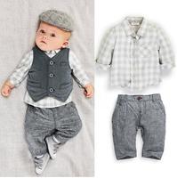 2014 free shipping Retail 1 set Top Quality!Boy fashion Gentleman Suit long t-shirt+pants+vest 3pcs suits kids clothing suits