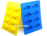fashion 8 hole cute gift for kids legos Robot shape moulds Silicone Ice Cube Tray Mold Free shipping