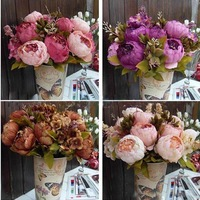 1pcs Bouquet Artificial Peony Silk Flowers Fake Leaf Home Wedding Party Decoration