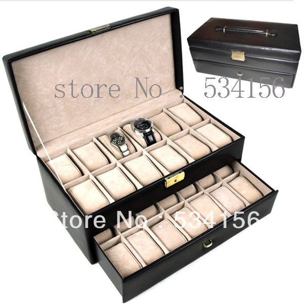 Free shipping black luxury watch box can fit into a 26 watches luxury leather watch boxes jewelry Display packaging gift box(China (Mainland))