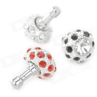 Crystal-inlaid Mushroom Adornment Anti-dust Plug for Cellphone - Silver + Black + Red Free Delivery
