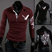 Free shipping men's fashion print long-sleeve turn-down collar polo shirt  eagle printing