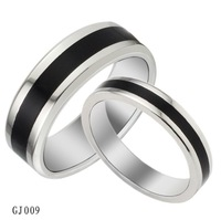 Popular Jewelry White Black Titanium Steel Couple Rings Korean Fashion Personality Ring GJ009