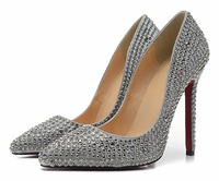 12cm sexy red bottom high heel shoes for women pointed toe rhinestone pumps high heels wedding shoes gold/gray