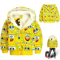 Children outerwear winter boys and girls hoodies sweatshirt SpongeBob cartoon hoodies kids thick fleece sweatshirt girl jacket