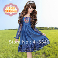 Free Shipping 2013 autumn viscose denim cotton national trend embroidered plus size long-sleeve silk lotus leaf one-piece dress