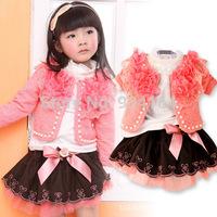 2014 New style Fashion lace coat long sleeve shirt short skrit 3pcs girls sets children clothing retail and wholesale