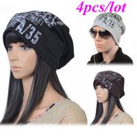 4pcs/lot New Fashion Letter printed Winter Men's/Women's Unisex Warm Beanie Hat Baggy Slouchy Cap 18498