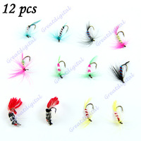 M65 New 12 pcs/set Various Dry Fly Hooks Fishing Trout Salmon Dry Flies Fish Hook Lures