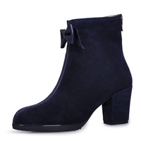 H1001 New 2013 fashion bowknot Rough heels ankle boot for woman winter fashion boot