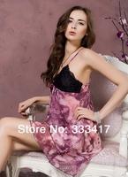 2014 New Style lady nighty Emulation Silk Lace  Pajama Temptation Princess Sleep Condole  Skirt women nightgown[400036]