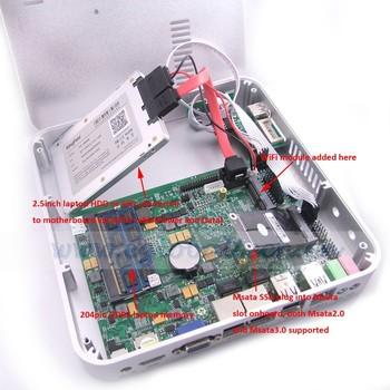 Fanless Mini Computer PC Case Alluminium for POS Terminal 4GB DDR3 64GB SSD C1037U Ubuntu Gabinete PC for School, KTV, Hotel