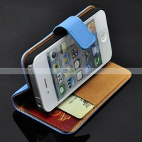 Real Folio Stand Genuine Wallet Leather Case for iPhone 4 4S with 2 Credit Card Slot Money Pouch 100pcs/Lot