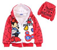 Children hoodies mickey mouse long sleeve outerwear zipper coat kids girls cartoon minnie sweatshirt  thick fleece warm jacket