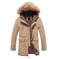Hot 2014 Men's Cloth Fur Hooded Winter Long Coat,Warm Thickening Fleece Jackets Cotton overcoat
