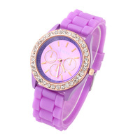 New Geneva Dress Watch For Women Casual Watches Analog Wristwatch Rose Gold Crystal Dial Silicone watch Hot Selling