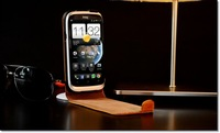 akria handmade 100% Genuine Real  Leather Case Cover Skin for HTC Desire X Brown