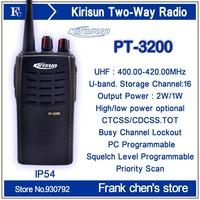 Walkie Talkie KIRISUN 2Watt  Commercial Portable UHF Two-way Radio PT3200 Free Shipping