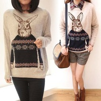 Women Knitted Animal Rabbit Print Casual Loose Pullover Sweater Outwear Tops