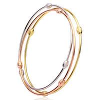 3pcs bangles Set 3 Tones 18k Gold Filled GF Charm olive Beads Balls Bracelets Lady Teens Free shipping