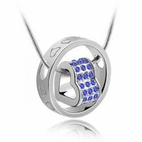 (Min order $10 mix)Fashion 18K white gold plated austrian crystal fortunes women wedding Pendants necklace
