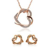 Fashion full rhinestone 18K gold plated double heart stud earring/necklace pendant Jewelry set