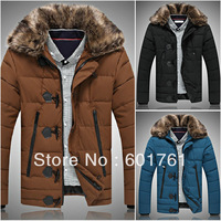 Men's Winter Coat Outerwear Warm Jackets cotton-padded black,Brown,Blue L-XXXL 3 colors