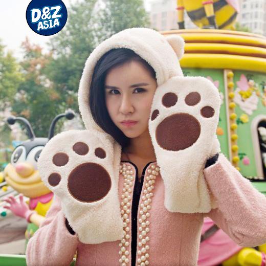 Specials Plush Panda Teddy Bear paw scarves gloves hats scarves integrated palm sherpa kits set 3 in 1 free shipping(China (Mainland))