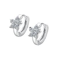 Shiny Cubic Zircon Diamond Petals Earrings 925 Sterling Silver Hoop Earrings Charm Jewelry Free Shipping (SE038)