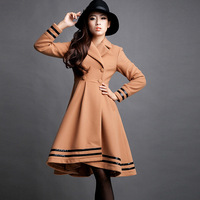 Original Design Skirt Bottom Turn-down Collar Woolen Trench, Women Elegant High Quality Winter Wool Overcoat