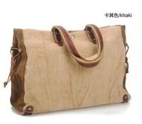 Retro bag Korean version of Casual Shoulder Bag handbag 2013 New Bag  men and women bag First layer of leather+Canvas Bag