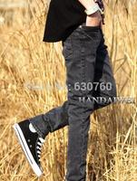 2013 spring male jeans mid waist casual slim dark grey skinny pants pencil pants