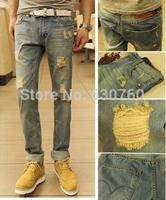 Vintage 2013 male hole jeans skinny casual pants slim male
