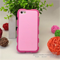100pieces/lot,Anti-skid design Dual Colors Silicon Soft Case with Dust Proof Plugs For iPhone 5,Free Shipping