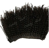 In stock factory price 1 piece natural Mongolian virgin Cuticle hair weaving/weft afro kinky curl curly human hair and bulk