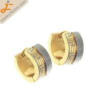 316L Stainless steel hoop earring, with great wall and dimond cut design, gold plated, Non-allergenic earring stud.
