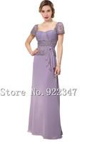 Floor length mother of bride dress blue chiffon dresses 2014 fashion cap dress