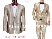 2014 Hot Selling Top Quality Men Brand Business Suits Slim Fit Champagne Prom Suits  One Button Dress Formal Suits S-4XL