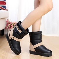 snow boots winter fashion shoes women's round toe rivet boots color block decoration