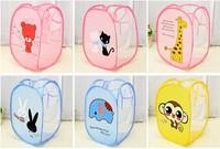 2PCS/Lot Children Cartoon Dirty Clothes Ventilation Collapsible Portable Laundry Storage Basket Folding Mesh Laundry Bucket