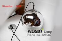 Free shipping plating glass chandeliers Copper visor mirror ball lights chandelier,chandelier bulb diameter 30cm,Pendant Lights