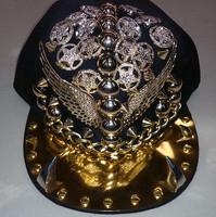 Acrylic cotton men flat brim snapback cap black rivet adjustable cap spikes design for rock hip-hop street dancing men caps hats