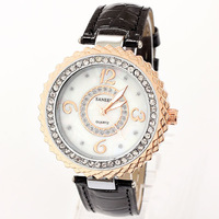 Leather Strap Watches 2013 New Brands Women Rhinestone Bracelet Watch Numbers Famous Free Shipping