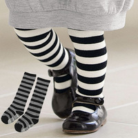 Free shipping Children Baby Girls In tube Socks Stripes Combed Cotton Stocking Leggings 1-3Y XL193 Drop shipping