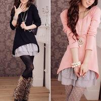Women Autumn and Winter Lace Hem Two Piece Long Knit Dress M1646