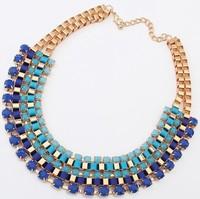 3 Colors Fashion Western statement elegant Chain Colorful Rinestones Pendant choker necklace jewelry