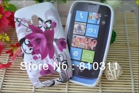 1pcs Zebra flowers vines butterfly circles Patterned Soft TPU Gel skin shell Case Cover For Nokia Lumia N610 610