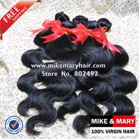Free Shipping Mike & Mary Peruvian Virgin Hair Body Wave 4pcs/Lot Natural Color 1b 5a Grade Peruvian Hair NO SHIDDING