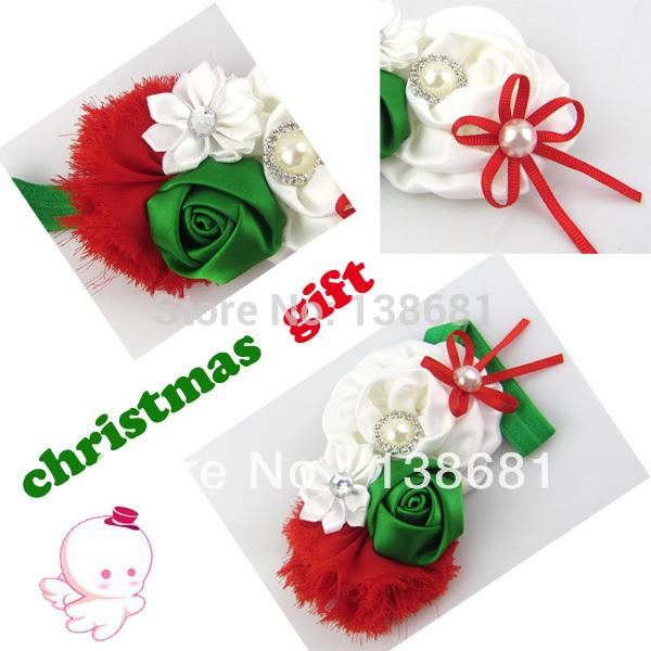 new 2014 Baby Girl rosette bow satin rose flower shabby chic vintage headband rhinestone hair styling Christmas kids accessories(China (Mainland))