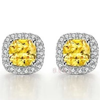 2 carat Princess cut exquisite element luxury synthetic diamond earrings for women wedding engagement earrings white gold plated